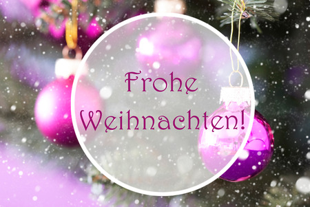 frohe: Christmas Tree With Rose Quartz Balls. Close Up Or Macro View. Christmas Card For Seasons Greetings. Snowflakes For Winter Atmosphere. German Text Frohe Weihnachten Means Merry Christmas