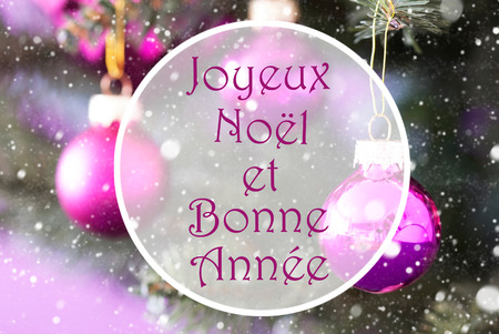 bonne: Christmas Tree With Rose Quartz Balls. Close Up Or Macro View. Snowflakes For Winter Atmosphere. French Text Joyeux Noel Et Bonne Annee Means Merry Christmas And Happy New Year Stock Photo