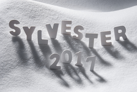 sylvester: White Letters Building German Text Sylvester 2017 Means New Years Eve 2017 In Snow. Snowy Scenery For Happy New Year Greetings. Stock Photo