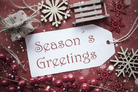 Seasons greetings stock photos royalty free seasons greetings images nostalgic christmas decoration like gift or present sleigh card for seasons greetings with red m4hsunfo