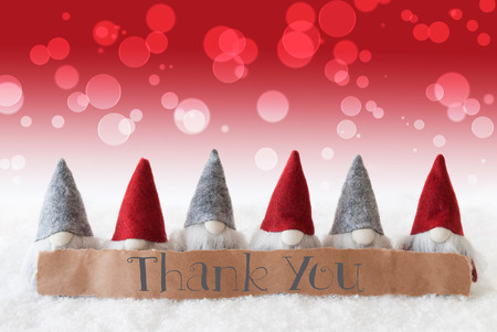 christmassy: Label With English Text Thank You. Christmas Greeting Card With Red Gnomes. Bokeh And Christmassy Background With Snow.