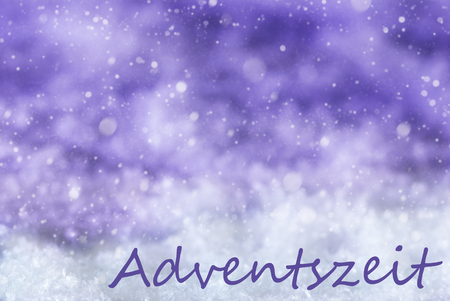 advent season: German Text Adventszeit Means Advent Season. Purple Christmas Background Or Texture With Snow And Snowflakes. Copy Space For Your Text Here