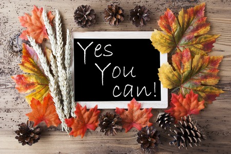 caes: Blackboard With Autumn Or Fall Decoration. Greeting Card For Seasons Greetings. Colorful Leaves, Fir Cone And Barley On Aged Wooden Background. English Quote Yes You Can