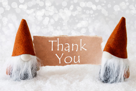 Christmas Greeting Card With Two Bronze Gnomes. Sparkling Bokeh Background With Snow. English Text Thank You