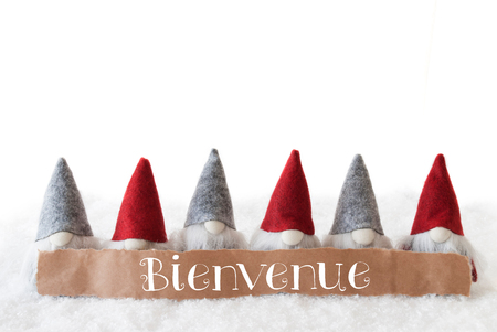 gnomos: Label With French Text Bienvenue Means Welcome. Christmas Greeting Card With Gnomes. Isolated White Background With Snow.