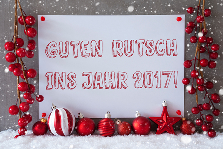 guten tag: Label With German Text Guten Rutsch Ins Jahr 2017 Means Happy New Year 2017. Red Christmas Decoration Like Balls On Snow. Urban And Modern Cement Wall As Background With Snowflakes.