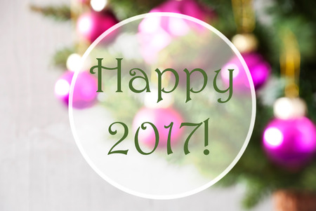 Christmas Tree With Rose Quartz Balls. Close Up Or Macro View. Christmas Card For Seasons Greetings. English Text Happy 2017 For Happy New Year Stock Photo