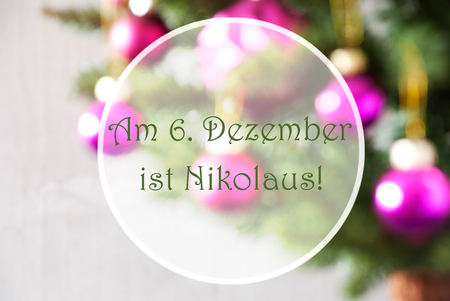 German Text Am 6. Dezember Ist Nikolaus Means December 6th Is Nicholas Day. Christmas Tree With Rose Quartz Balls. Close Up Or Macro View. Christmas Card For Seasons Greetings.