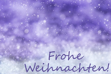 frohe: German Text Frohe Weihnachten Means Merry Christmas. Purple Christmas Background Or Texture With Snow And Snowflakes. Copy Space For Your Text Here