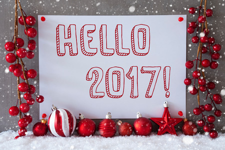 Label With English Text Hello 2019 For Happy New Year. Red Christmas ...