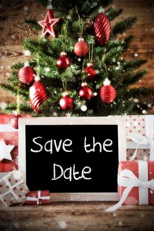 chalkboard with english text save the date christmas card for seasons greetings christmas tree