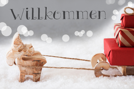 willkommen: Moose Is Drawing A Sled With Red Gifts Or Presents In Snow. Christmas Card For Seasons Greetings. Silver Background With Bokeh Effect. German Text Willkommen Means Welcome