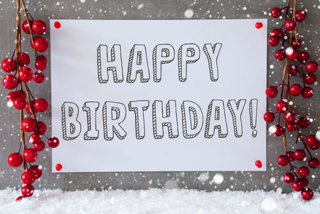 label with english text happy birthday red christmas decoration on snow urban and modern