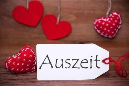 downtime: Read Hearts, Label, Auszeit Means Downtime Stock Photo