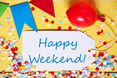 Party Label, Red Balloon, Text Happy Weekend Stock Photo