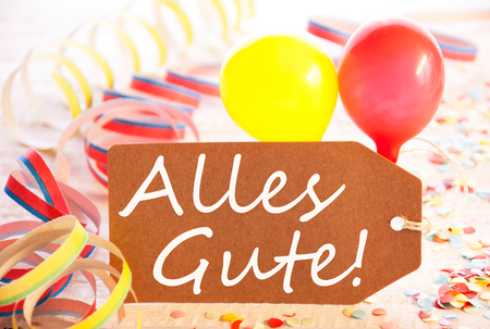 wedding feast: Party Label, Balloon, Streamer, Alles Gute Means Best Wishes Stock Photo