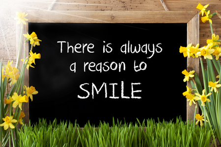 reason: Sunny Spring Narcissus, Chalkboard, Quote Alwyas Reason To Smile Stock Photo