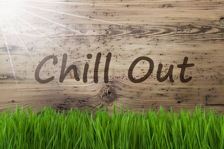Sunny Wooden Background, Gras, Text Chill Out Stock Photo