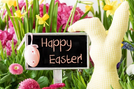 Sign With English Text Happy Easter. Colorful Spring Flowers Like Narcissus. Easter Bunny And Easter Egg As Decoration. Card For Seasons Greetings