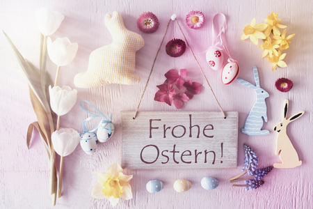 Retro Easter Flat Lay, Flowers, Frohe Ostern Means Happy Easter Stock Photo