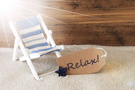 auszeit: Summer Sunny Label And Text Relax Stock Photo
