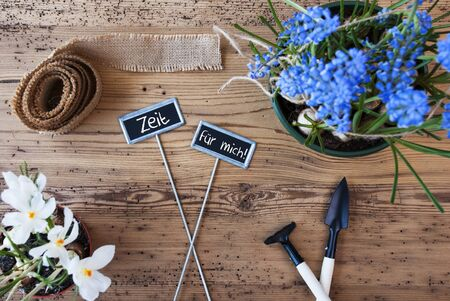 Flowers, Signs, Zeit Fuer Mich Means Time For Me Stock Photo
