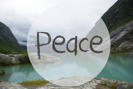 tranquillity: Lake With Mountains, Norway, Text Peace