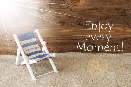 philosophic: Summer Sunny Greeting Card And Quote Enjoy Every Moment Stock Photo