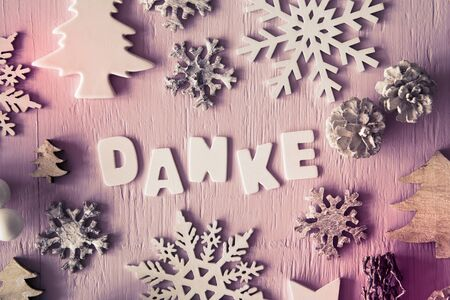 Christmas Flat Lay, Letters With Danke Means Thank You, Instagram Filter Stock Photo