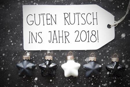 guten tag: Black Christmas Balls, Snowflakes, Guten Rutsch 2018 Means New Year