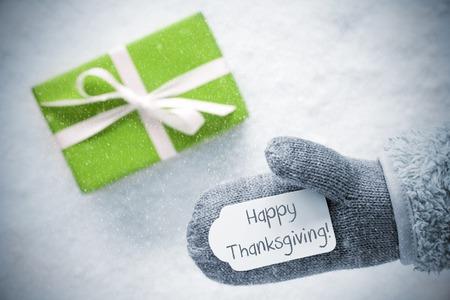 Green Gift, Glove, Text Happy Thanksgiving, Snowflakes Stock Photo