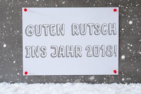 guten tag: Label, Cement Wall, Snowflakes, Guten Rutsch 2018 Means New Year