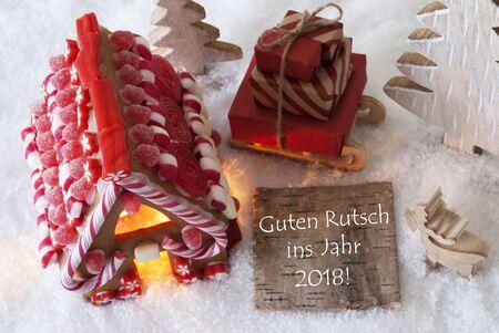 guten tag: Gingerbread House, Sled, Snow, Guten Rutsch 2018 Means New Year