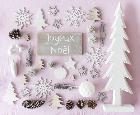 Decoration, Flat Lay, Joyeux Noel Means Merry Christmas