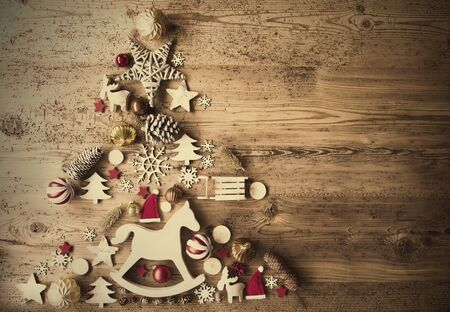 Boże Narodzenie płasko z dekoracji, koń na biegunach, Retro tło Zdjęcie Seryjne