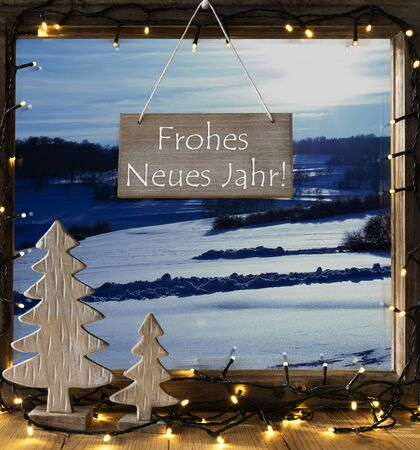 window view: Window, Winter Landscape, Frohes Neues Means Happy New Year