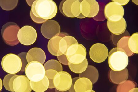 Golden Retro Lights Background, Party, Celebration Or Christmas Texture Stock Photo