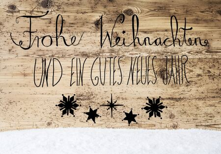 beginnings: Calligraphy Gutes Neues Means Happy New Year, Snow