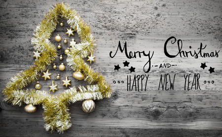 beginnings: Golden Tinsel Tree, Calligraphy, Merry Christmas And Happy New Year