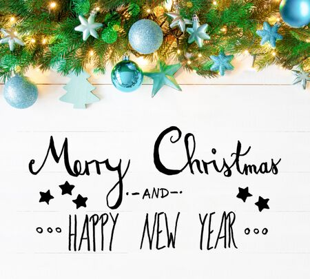 christmas garland calligraphy merry christmas and happy new year stock photo 86940702