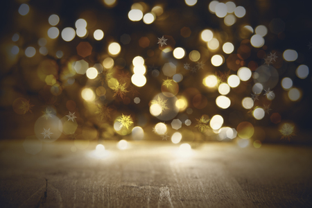 golden christmas lights background party or disco texture with wood stock photo 86940703