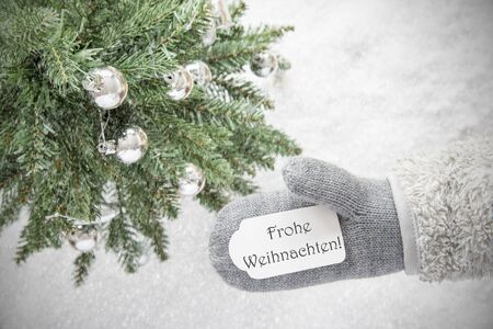 Christmas Tree, Glove, Frohe Weihnachten Means Merry Christmas, Snowflakes