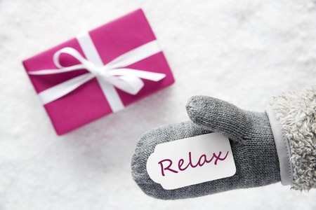 Pink Gift, Glove, Text Relax Stock Photo