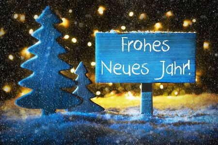Blue Christmas Tree, Frohes Neues Means Happy New Year, Snowflakes Stock Photo
