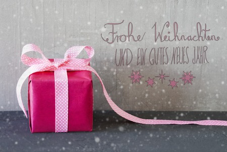 Pink Present, Snowflakes, Calligraphy, Gutes Neues Means Happy New Year