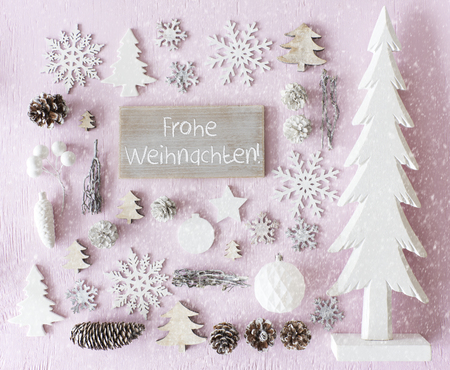 Decoration, Flat Lay, Frohe Weihnachten Means Merry Christmas, Snowflakes