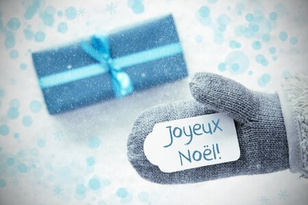 Turquoise Gift, Glove, Joyeux Noel Means Merry Christmas, Snowflakes