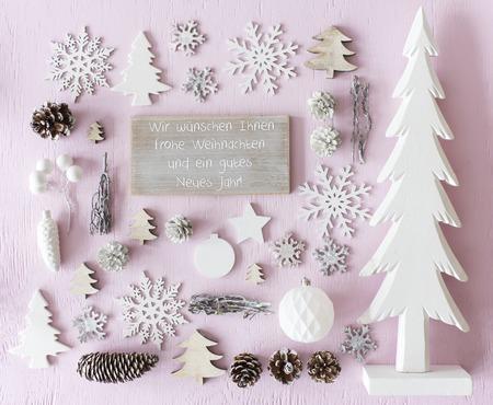 Christmas Decoration, Flat Lay, Text Happy Holidays
