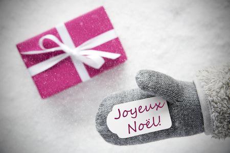 Pink Gift, Glove, Joyeux Noel Means Merry Christmas, Snowflakes