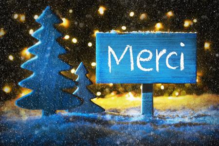 Blue Christmas Tree, Merci Means Thank You, Snowflakes Stock Photo
